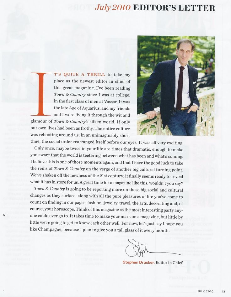 The text in this page is off centered, but is balanced through the placement of the editors picture. The drop cap is very formal but provides a personality statement in the opening of his letter. There is consistent use of orange in the date, the opening sentence and his name, this color unites these elements. This layout has lots of space left, as the paragraph could start level with the picture, or continue to the align with the far right of the picture.
