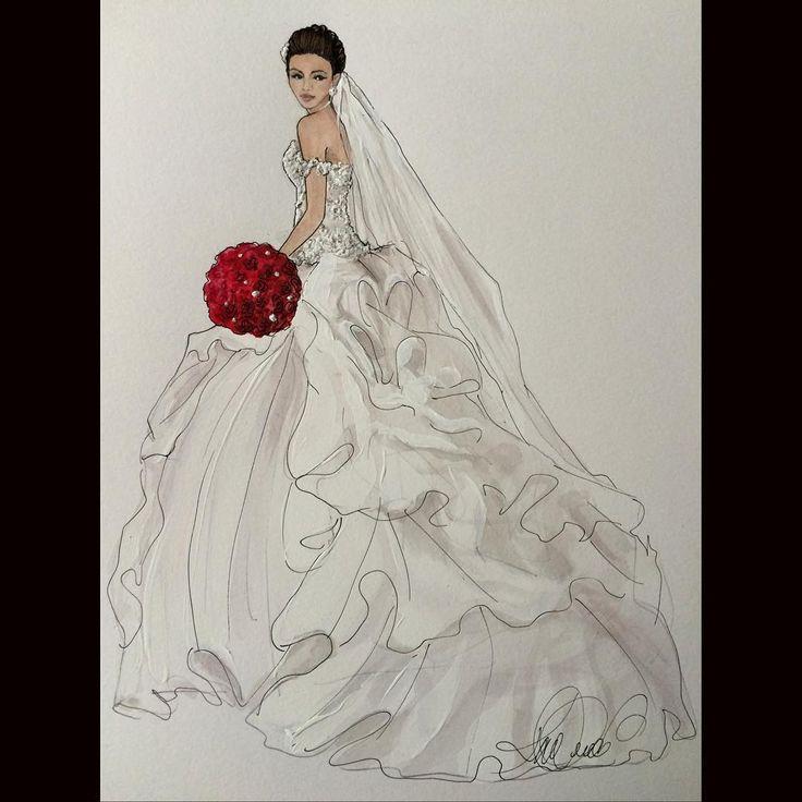 Gorgeous Ofelya in Baracci @o.tonyan @baraccinovias #realbride #bridalillustration  For Illustration enquiry- please contact- karenorrillustration@gmail.com