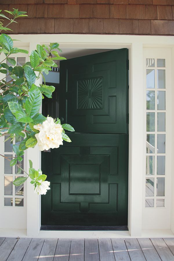 You only get one first impression, impress house guests with a front door painted in Tavern Door and Aura Grand Entrance paint.