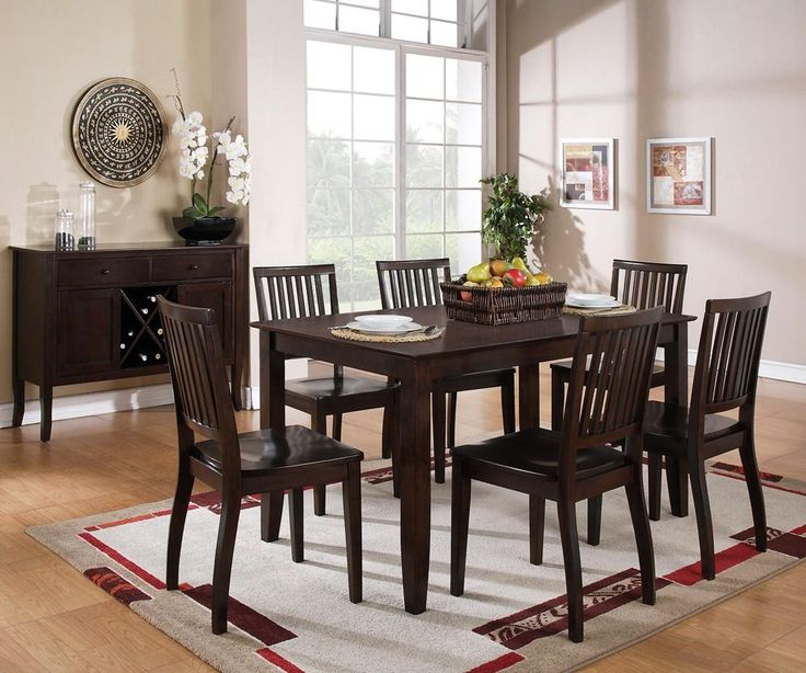 Vendor 3985 Candice 7 Piece Rectangular Table And Slat Back Chair Dining  Set   Becker Furniture World   Dining 7 (or More) Piece Set Twin Cities, ...