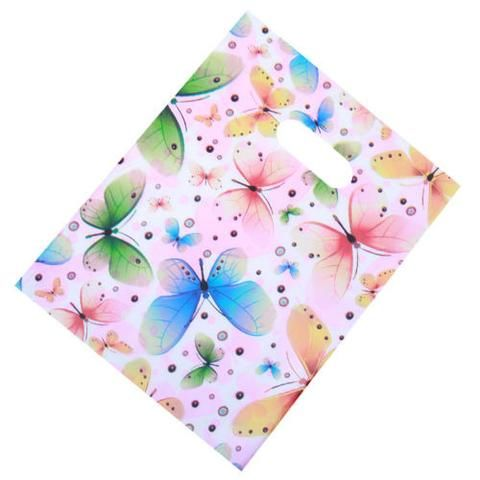 100pcs Hotsale Multicolor Butterfly&Circle Plastic Carrier Bags Gift Bags New J