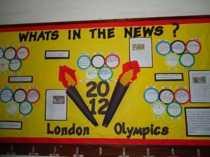 """Een """"nieuws van de dag"""" ( scores en deelname van """"onze""""sporters b.v.) bord in de klas. De kinderen kunnen dan een onderdeel voor hun rekening nemen, stukjes uit de krant. Mooie vorm van een muurkrant!"""