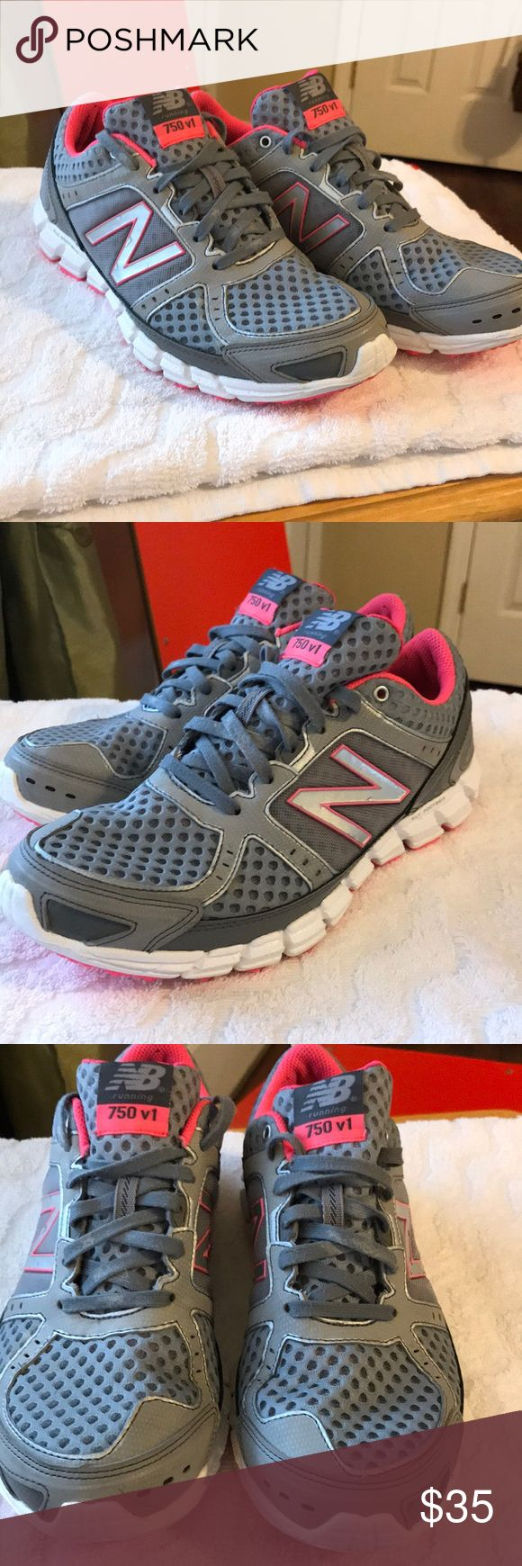 New balance ladies 750 V1 size 7 1/2 Ladies new balance 750 the one in size 7 1/2. These ladies new balance shoes are in excellent condition only worn 1 or 2 times only. Very lightweight super comfortable. No issues with the shoes at all like new next to nowhere on the bottoms. Colors are gray silver and fluorescent pink. New Balance Shoes Athletic Shoes