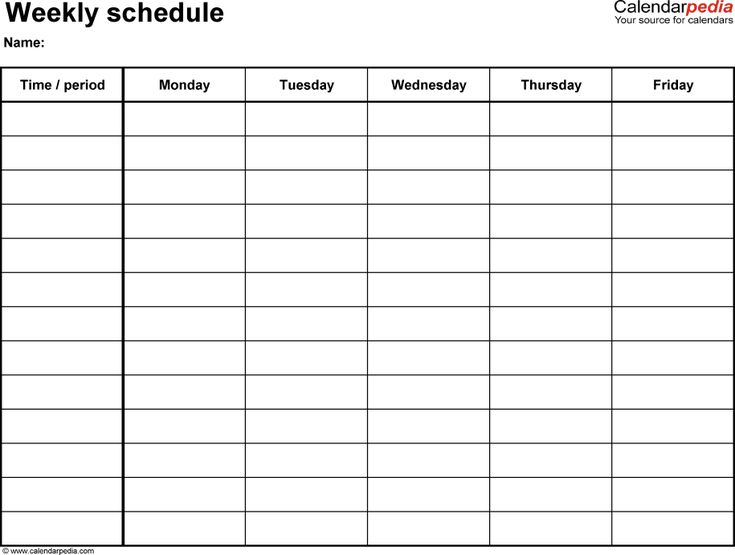 Weekly schedule template for PDF version 2 landscape, 1 page