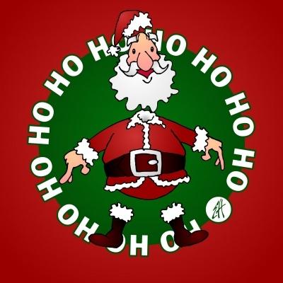 Kerstman, Ho ho Ho (© Ernest van Hout, Cardvibes.com - Tekenaartje.nl) Kerstkaart. #Sendasmile #Cardvibes #Tekenaartje #Christmas #Kerstmis #Kerst