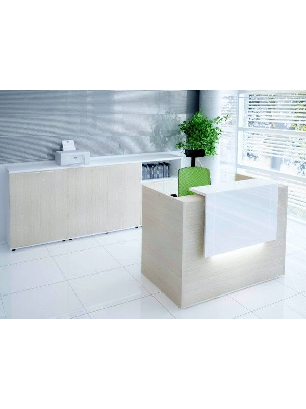TERA Small Reception Desk w/Light Panel, Canadian Oak by MDD Office Furniture | SohoMod.com