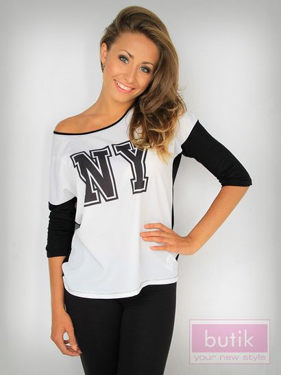 Butik - bluzka z nadrukiem - two tone NY blouse