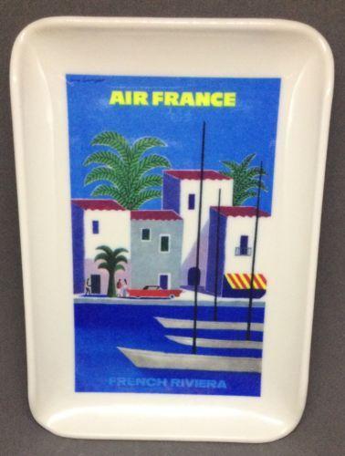 Vintage Air France Tray French Riviera Small Melamine Plastic Travel Souvenir