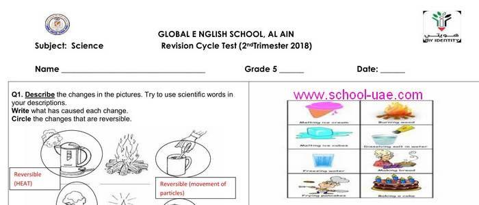 ملخص علوم منهج انجليزى الصف الخامس فصل ثانى 2020 الامارت Science Revision Science Scientific Works