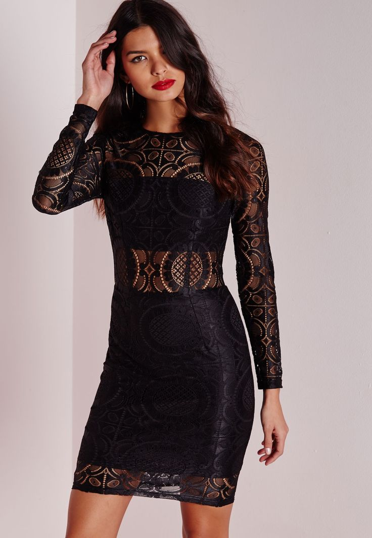 Missguided - Circle Lace Bodycon Dress Black