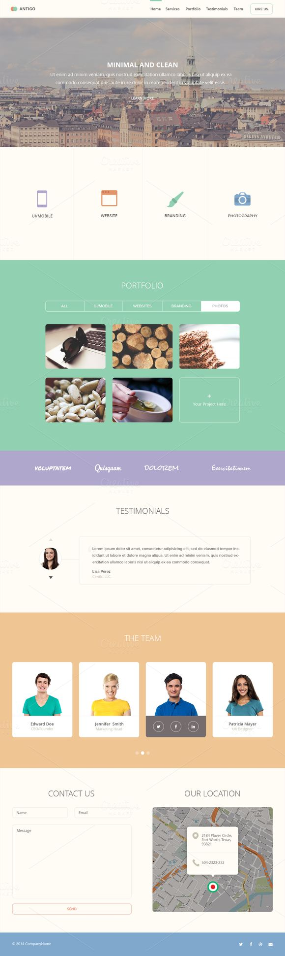 Antigo PSD Web Template Antigo a One Pager PSD Template -Flat Design -Retina Ready -Bootstrap Grid (1280px width - 70px columns) -Sharp and Clean -2 Hero Style