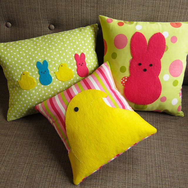 DIY Easter Peeps Pillows - for those without sewing skills - do it anyways on store purchased pillows using felt (or suede) for Peeps!