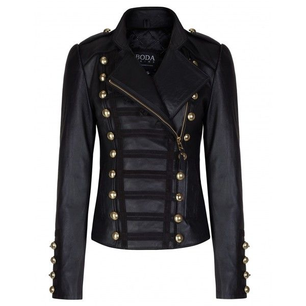 Napoleon Oil Black Gold Hardware Womens Leather Military Jacket - Boda... ($607) ❤ liked on Polyvore