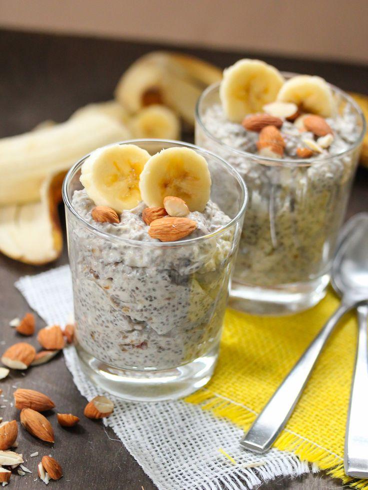 Med banan och mandel blir chiapuddingen extra god och mättande.