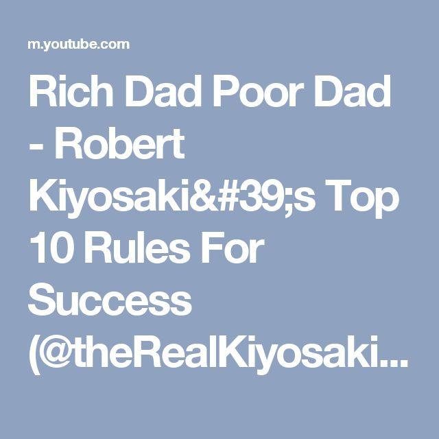 ricg dad poor dad Rich dad poor dad is a book written by veteran and investor robert kiyosaki who teaches us to acquire assets and avoid liabilities among many other tricks.