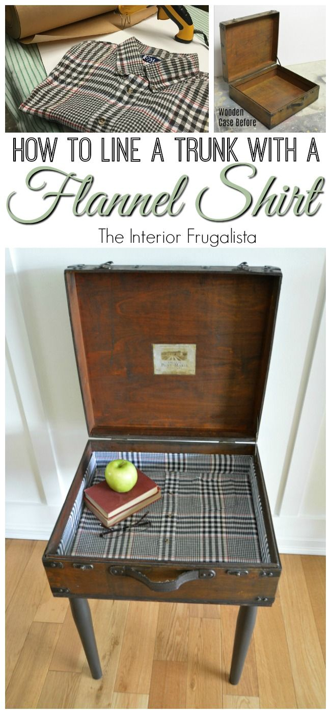 Ever thought about using clothing to line furniture? Here I show you how easy it is to line a trunk with an old flannel shirt | The Interior Frugalista