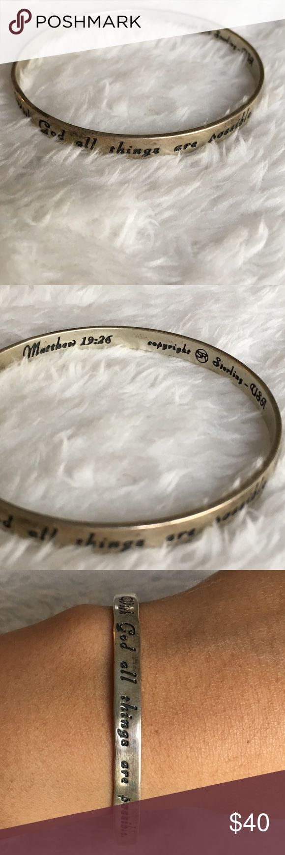 "Sterling silver religious bracelet Matthew 19:26 Bracelet outside says, ""with God all things are possible."" Inside is marked ""Matthew 19:26 copyright sterling USA."" Has some tarnish. Please refer to pictures for sizing and condition. A1 Jewelry Bracelets"