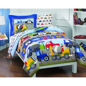 Trucks Tractors Cars Boys Blue and Red 5 Piece Twin Comforter Set $59.98 + free shipping from everydayhomeoutlet on Amazon ~ Doesn't quite match his room, but close