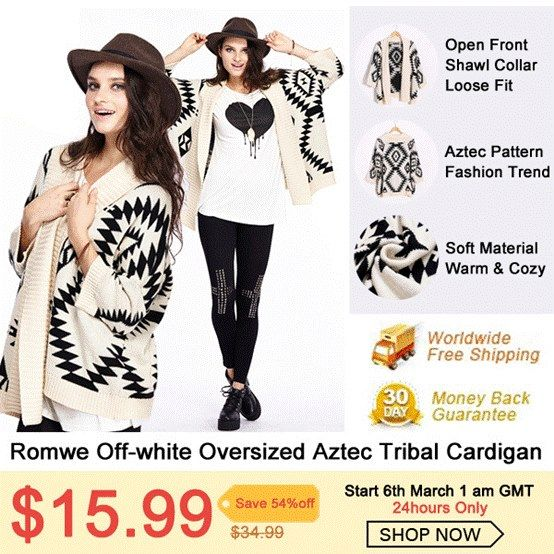 This item you must have! Romwe Off-white Aztec Tribal Cardigan.$15.99 on 6th March only! Never miss out: http://www.romwe.com/romwe-offwhite-oversized-aztec-tribal-cardigan-p-69353.html Further more, over 100 bestsellers, Up to 85% off! From 4th March to 10th March! Go: http://www.romwe.com/Happy-Women's-Day-c-487.html?Susie Free shipping to the worldwide, 30 days money back Guarantee.