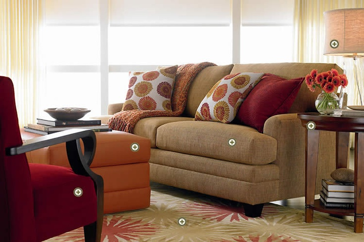Cranberry And Orange Accent Contemporary Andtransitional