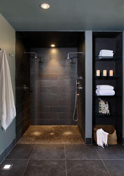 Love how the open shelf finish mimics the shower—a good idea for my bathroom❣ Interior Designs