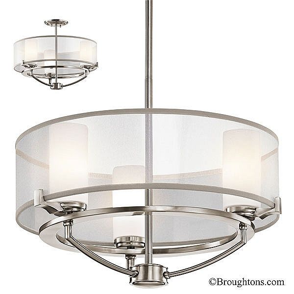Kichler saldana 3 light duo mount pendant classic pewter