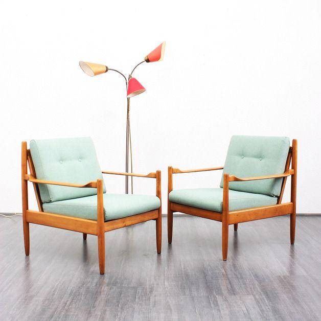 60er Jahre Sessel, Buche, neu bezogen