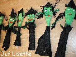 Knutselen 3d: heksen kinderfeestje alleen dan niet met stof maar alleen schilderen en bewegende oogje wel wol voor de haren