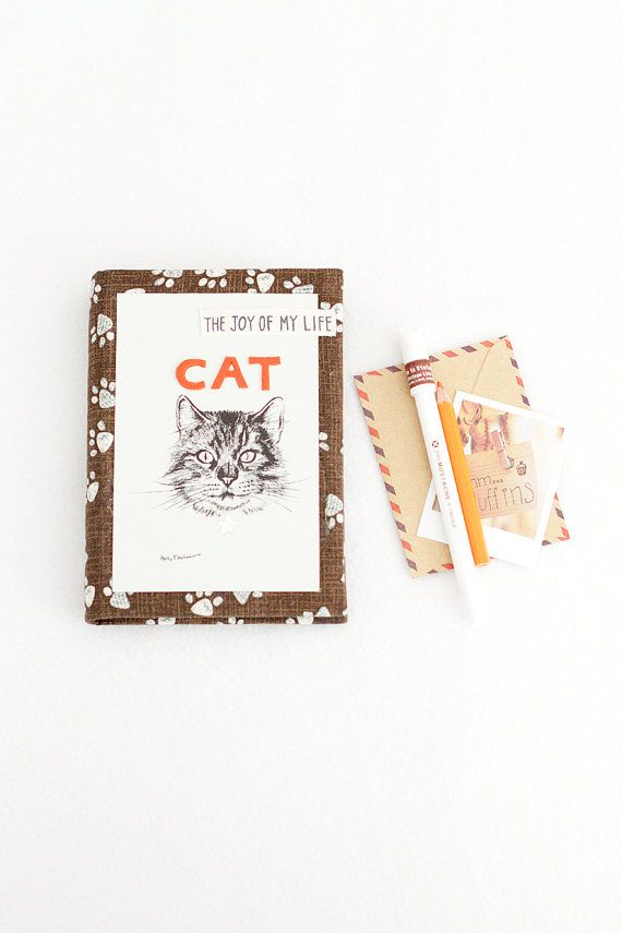 Cat diary Writing journal fabric cover Cat Notebook by Spoolville