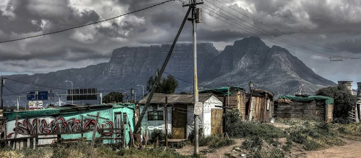 Cape Town a township with Table Mountain backdrop