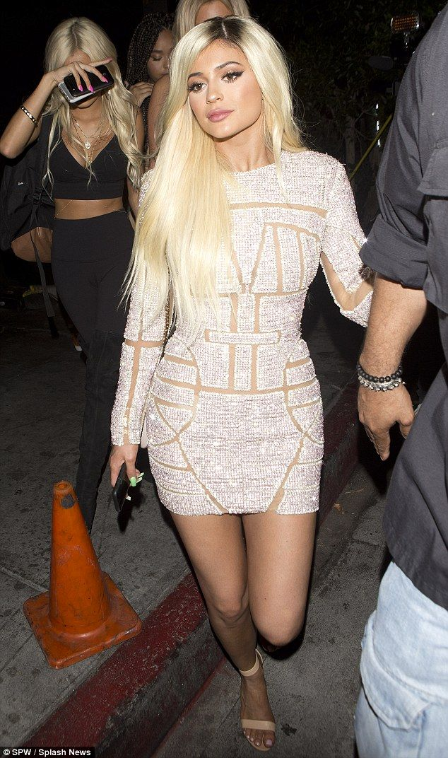 To celebrate her 18th birthday at a lavish bash at celebrity hotspot, The Nice Guy, on Sunday evening, Kylie Jenner stole the spotlight in a long-sleeved silver mini-dress covered in crystals and featuring nude panels throughout