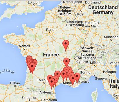 carte des différents domaines à visiter par Wine Tour Booking