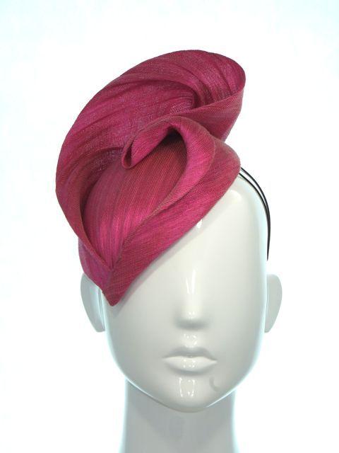 Hot pink paris cloth races hat - Bonnie Evelyn Millinery
