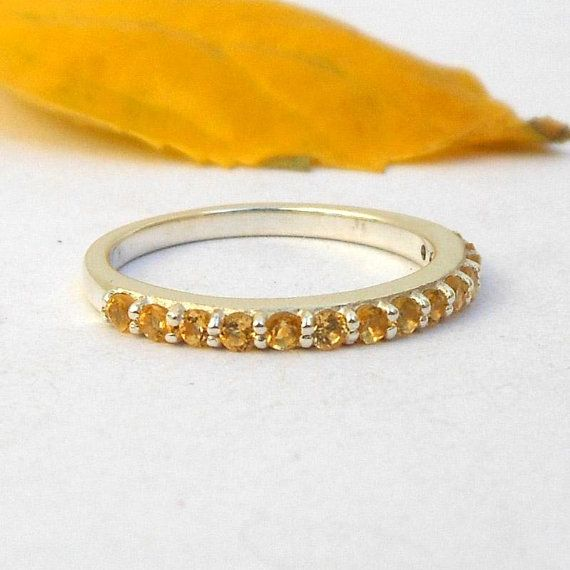 Citrine Round Eternity Rings Sterling Silver Citrine Ring Wedding