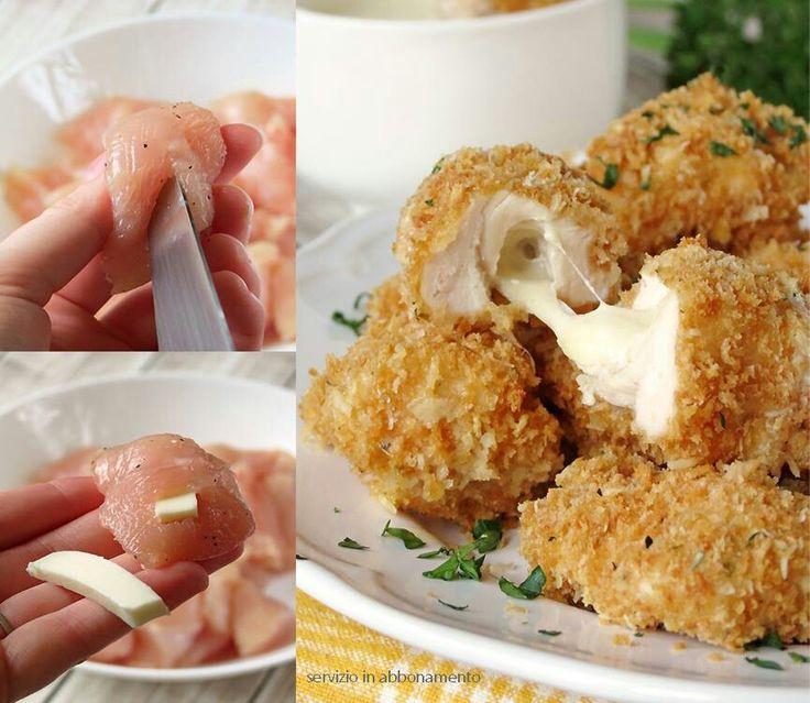 Bocconcini di pollo con formaggio filante