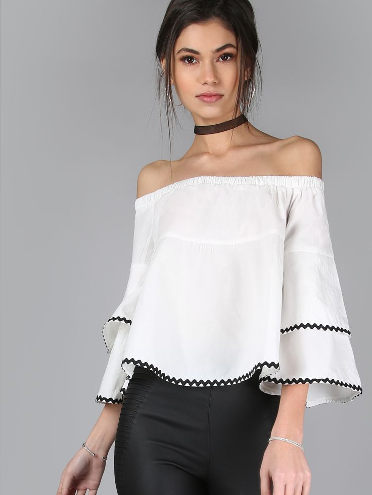 Shop Off Shoulder Ruffle Sleeve Top WHITE online. SheIn offers Off Shoulder Ruffle Sleeve Top WHITE & more to fit your fashionable needs.