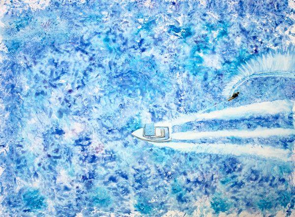 Water Skiing Watercolor Print