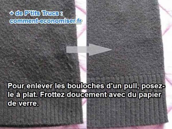 pour enlever les bouloches et les peluches sur un pull en laine ou une écharpe, utilisez du papier de verre