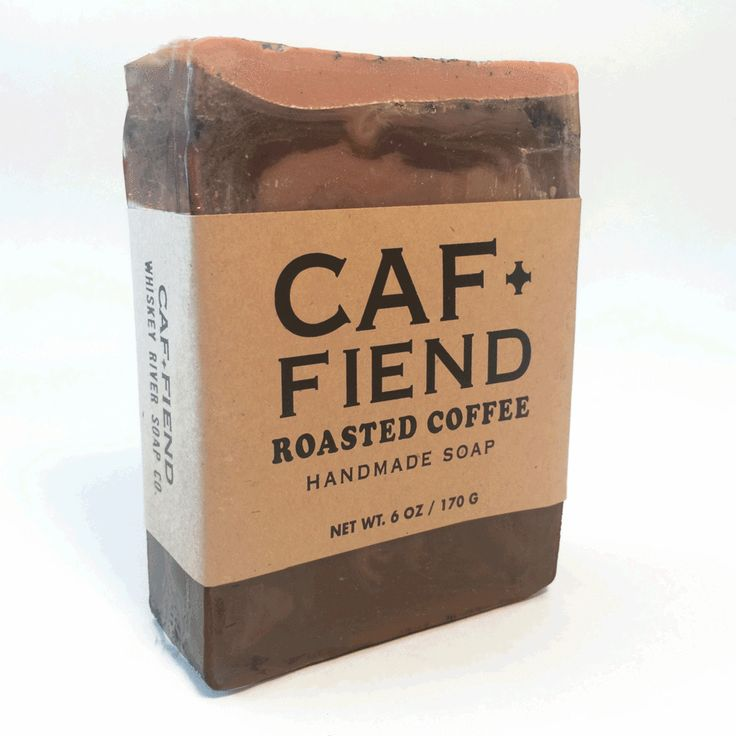 Caf Fiend | Soap for the caffeine addict | ''Each bar is handmade with coffee grounds and beans and emits a scent of freshly-roasted gourmet coffee.'' | Roasted coffee scented.