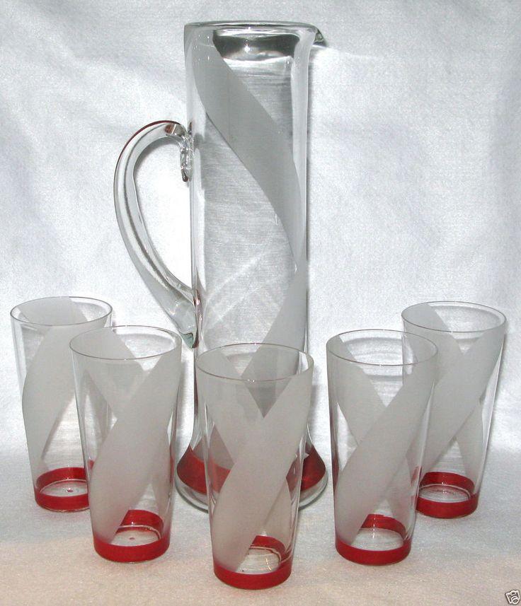 6pc CZECH Art Glass Red Band Optic Swirl ART DECO Cocktail Pitcher & Tumbler Set