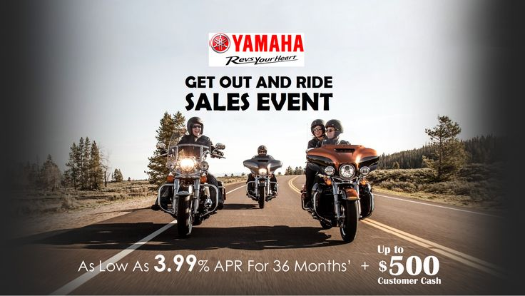 Save BIG during Yamaha's Get Out and Ride Sales Event! Stop in or give us a call today for the best offers on all Yamaha motorcycles, Scooters and ATVs.  For further details, Visit: http://www.hi-techmotorsports.com/Showroom/Promotions/Promotion-Details/PromotionId/14e05fd1-1767-4c89-84b7-a6f2013ffb85  #GetOutandRideSalesEvent #SalesEvent #GetOutandRide #Yamaha #YamahaSalesEvent #Motorcycles #Scooters #ATV #BestOffers #BestDeals #HiTechMotorSports