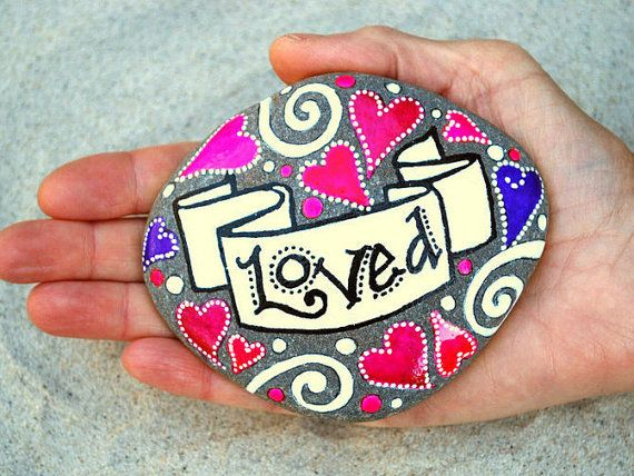 You Are LOVED / Painted Stone / Sandi Pike by LoveFromCapeCod, $47.00