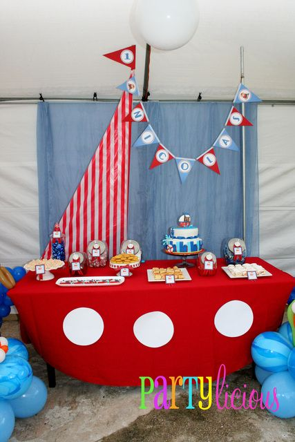 Cute nautical dessert table #nautical #birthday