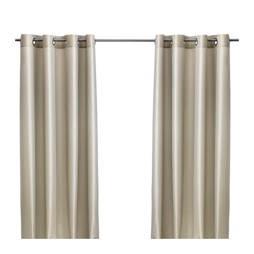 IKEA - PÄRLBUSKE, Curtains, 1 pair, , The curtains have an elegant shimmer because two different colours are woven into the fabric.The curtains lower the general light level and provide privacy by preventing people outside from seeing directly into the room.The eyelet heading allows you to hang the curtains directly on a curtain rod. £30 145x300