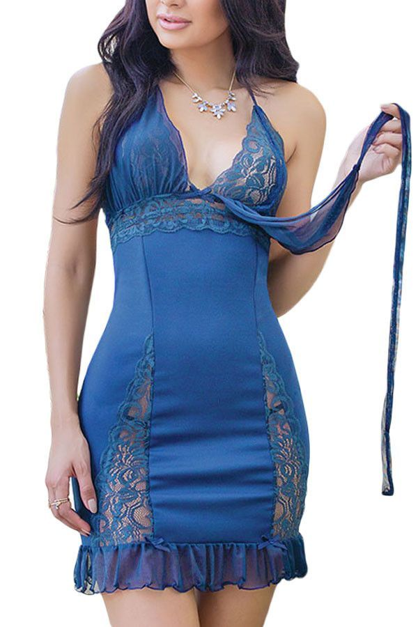Blue Lace Detail Sultry Halter Chemise Lingerie with Thong