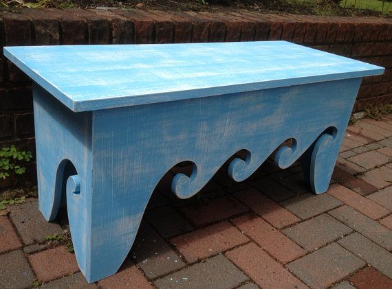 Waves Bench Coffee Side Table Waves Beach House Chair - Assemble Yourself Beach House Decor on Etsy, $202.00 CAD