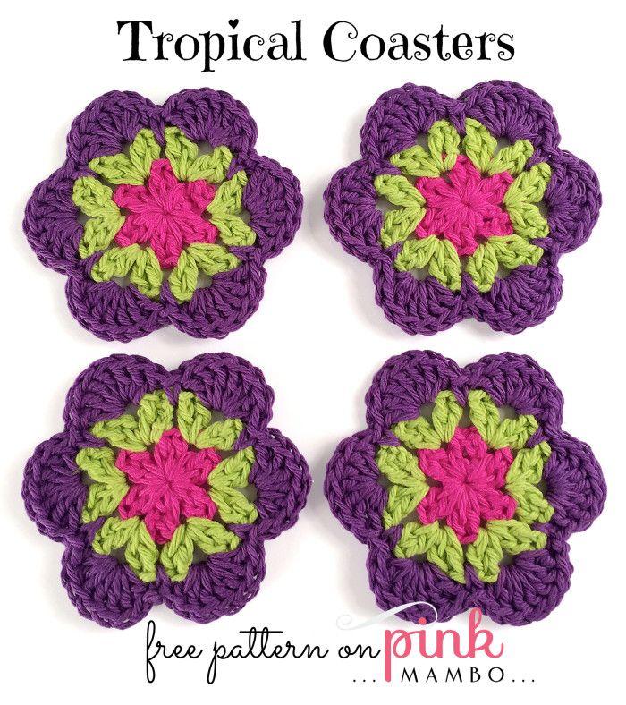 Tropical Coasters http://pinkmambo.com/crochet/motifs/crochet-tropical-coasters/