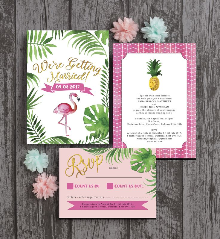 Bright and beautiful tropical themed flamingo wedding stationery. With aqua / turquoise watercolour backgrounds, fuchsia pink flamingo illustrations, fun pineapple motifs, geometric prints and palm leaf patterns. This wedding stationery is perfect for a destination wedding or tropical themed party. Instant printable PDFs / digital downloads OR order professionally printed. Edit with your text online for personalised / customised wedding invites (invitations), save the dates, RSVPs, Menus