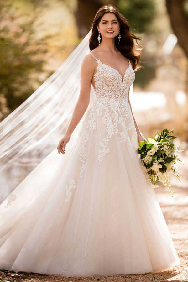 Stunning Tulle & Sequin Tulle Spaghetti Straps Neckline A-line Wedding Dress With Beaded Lace Appliques