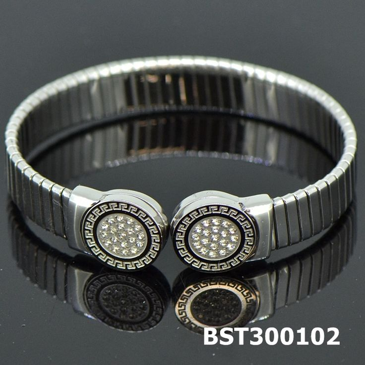 Fashion Stainless Steel Silvery Bangle CZ #BST300101